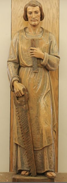 Lord, Please remember me in your kingdom -- The Lord spoke to Paul in a vision. For I am with you (Acts Holy Spirit. St Joseph Catholic, Mary And Jesus, Wood Carving Patterns, Clay Art, Holy Spirit, Jesus Christ, Saint Joseph, Painting, Detail