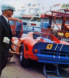 1965 Le Mans 24h paddock North American Racing Team with the Ferrari 365 P2 nr18 Rodriguez-Vaccarella 7th