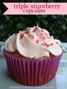 Triple Strawberry Cupcakes