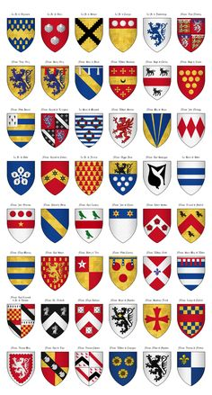 The Surrey Roll of Arms (aka Willement's Roll) - Shields - Category:Surrey Roll - Wikimedia Commons Medieval Knight, Medieval Armor, Medieval Fantasy, Family Crest Symbols, Medieval Banner, Medieval Shields, Family Shield, Templer, Shield Design