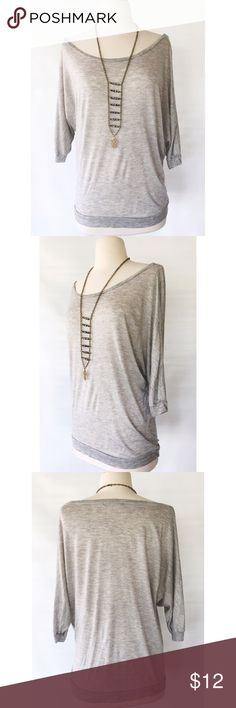 Heather Grey Boatneck Tee Light gray scoop neck sweater tee. Can be worn on or off shoulder. Forever 21 Tops Tunics