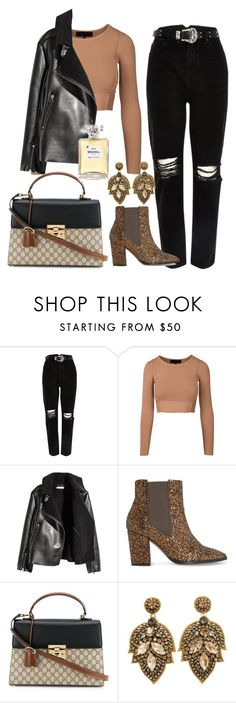 """Camel and black"" by kfirinidoy ❤ liked on Polyvore featuring River Island, Dune, Gucci and Chanel"