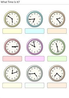 Actividades para niños preescolar, primaria e inicial. Plantillas con relojes analogicos para aprender la hora diciendo que hora es. Que hora es. 14