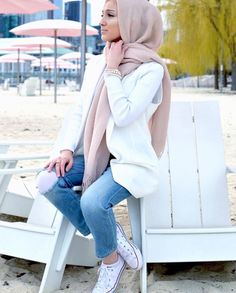 Pinterest: @eighthhorcruxx. Jeans, white sweater, pale pink hijab and white converses