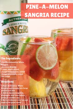 Cool off with this pine-a-melon sangria recipe full of yummy summer flavors. It's a pretty and sweet drink, perfect for serving at any summer occasion. Sangria Cocktail, Summer Sangria, White Sangria, Cocktails, Drinks, Sangria Recipes, Cocktail Recipes, Watermelon, Festive