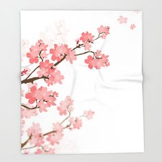 Cherry blossom Throw Blanket by Naturez. Worldwide shipping available at Society6.com. Just one of millions of high quality products available.