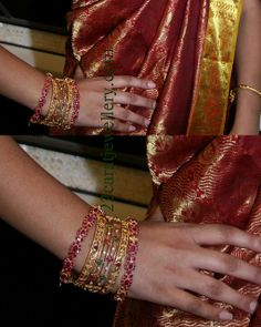 Jewellery Designs: Model Displaying Ruby and Uncut Diamond Bangles Gold Bangles Design, Gold Earrings Designs, Gold Jewellery Design, Designer Bangles, Ruby Bangles, Bangle Bracelets, Gold Mangalsutra Designs, Gold Jewelry Simple, Diamond Bangle