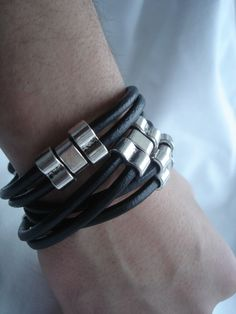 Black Leather Wrap Bracelet With Metal For Mens ~ IMKDESIGN.