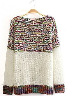 To find out about the White Long Sleeve Contrast Mixed Knit Sweater at SHEIN, part of our latest Sweaters ready to shop online today! Knitting Designs, Knitting Stitches, Hand Knitting, How To Purl Knit, Knit Fashion, White Long Sleeve, Pulls, Pattern Fashion, Ideias Fashion