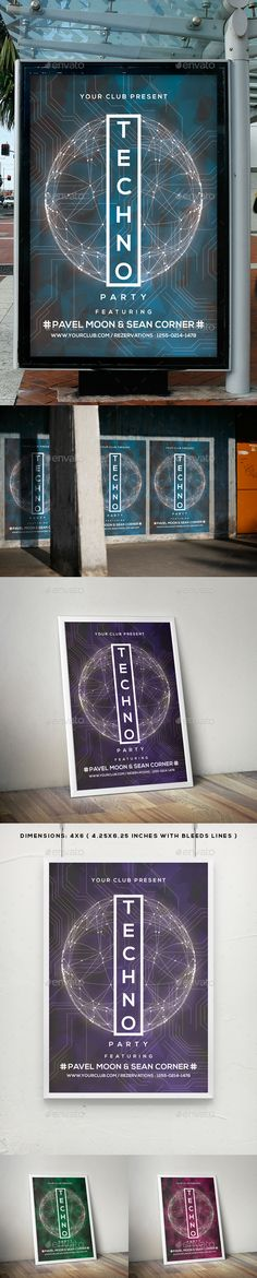 Techno Music Flyer / Poster Template PSD