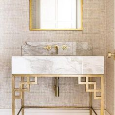 Brass Washstand with Thick Marble Sink