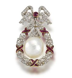 A belle époque freshwater natural pearl, ruby and diamond brooch, circa 1905  The circular-cut ruby and single-cut diamond fluttering ribbon bow surmount suspending a large freshwater baroque pearl drop with rose-cut diamond cap, within a millegrain-set single-cut diamond wreath surround, accented by calibré-cut ruby ribbons