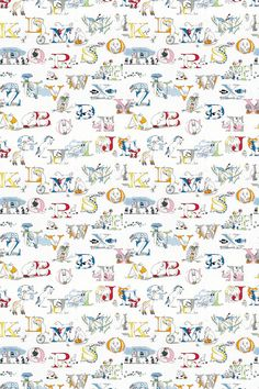 Alphabet Zoo   (233924) - Sanderson Fabrics - A fun and colourful alphabet fabric design embroidery with some cheeky antics from  zoo animals seen here in a bright rainbow colourway. Please request sample for true colour and texture match.