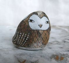 Hand Painted Beach Stone with Owl