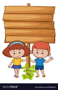 Wooden board with two kids vector image on VectorStock Frame Border Design, Boarder Designs, School Board Decoration, School Decorations, School Cartoon, Cartoon Kids, Student Cartoon, Classroom Board, Classroom Decor