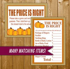 Pumpkin Baby Shower Price Is Right Game Printable, Neutral Baby Shower Games, Baby Shower Game, Instant Download, Pumpkin