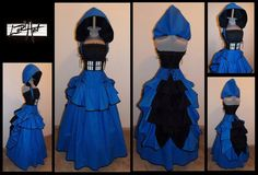 TARDIS  Under Bust   Blue Black and White Full Bustle by loriann37