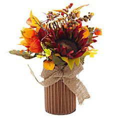 The perfect fall centerpiece. Sunflower, Maple and Berry with Bow Floral Pick, 14