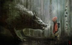 Dying moments of Red Riding Hood.