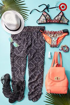 Celebrate an athletic body with a surfergirl-chic look. Throw on a pair of printed pants, gladiators, hat, solid bag and sunnies for festival outfits or sunset walks. Seriously, who doesn't love an excuse to be in a swimsuit. Easy way to make sure it all ties together, match your nails with your suit and a key accessory.