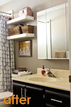 bathroom organization ideas - love the shelves above the toilet