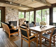 Rustic Simplicity, soft gray toned wood for ceiling and floor, serene look with the stone.
