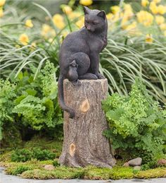 Main image for Cat and Mouse on Stump Lawn Ornament