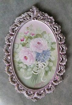 Love Painted Roses, Hand Painted, Oval Frame, Romantic Homes, Decoupage, Hydrangea, Decorative Plates, Arts And Crafts, Pretty