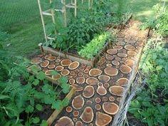 Wood stump garden path