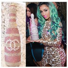 Here's another image of the gorgeous @angelbrinks with our #Chanel #memorybottlle. Angel is wearing a custom gown made by her. Follow the talented @angelbrinks #champagnebottle #bottle #socialite #birthdaybash #birthdaybottle #keepsake #champagne #bottle #blingbottle