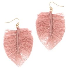Make a statement with these beautiful pink fringe earrings. In the shape of a leaf, they are light to wear, perfect for hot summer days when your hair is up in a messy bun! Fringe Earrings, Leaf Earrings, Charm Jewelry, Summer Collection, Sterling Silver Jewelry, Pink, Gold, Accessories, Messy Bun