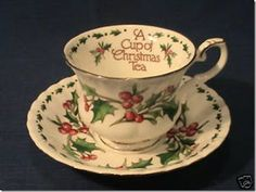 """""""A Cup of Christmas Tea"""" cup and saucer"""