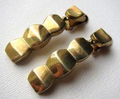 1940s-1950s cubist brass earrings