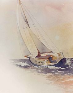 5 Popular Types of Sailboats and Why They're Loved – Voyage Afield Watercolor Water, Watercolor Artists, Watercolor Landscape, Watercolour Painting, Landscape Paintings, Watercolours, Sailboat Art, Sailboat Painting, Nautical Art