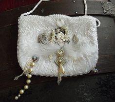 Steampunk wedding purse, white beaded rhinestone bridal clutch, Stunning dream handbag with vintage Watch Works, Love love love it damn it!
