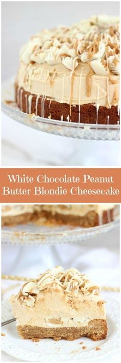 No-bake white chocolate peanut butter cheesecake with a thick peanut butter blondie crust