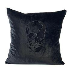 Velvet Black on Black Skull Pillow