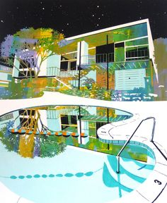 Modern architecture the subject of these paintings by artist Jens