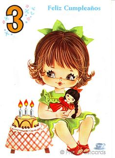 Vintage Birthday Card for a Three Year Old Big Eyed Girl | Flickr