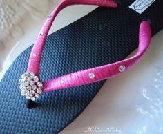 Hot pink Flip Flops. Bridal blackhot pink flip by MyDreamWedding, $30.00