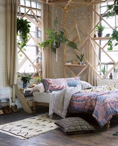 Color: tan Style: plants, wood, step shelves Bed: Queen
