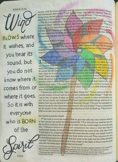 John Bible Holy Spirit is a mystery, just like the wind. Faith Bible, My Bible, Bible Art, Bible Scriptures, Bible Quotes, Book Art, Bible Study Journal, Scripture Study, Art Journaling