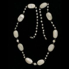 nlbd1217(e)-Vintage hand carved mother of pearl bead necklace