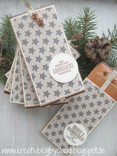 """Weihnachtsschokolade - lecker verpackt mit dem Designerpapier im Block """"Gemütliche Weihnachten"""".     Um mit der Schokoverpackung ton in to..."""