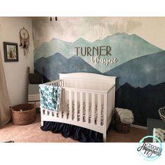 Thanks for the mountain nursery inspo, ⛰ Baby Bedroom, Baby Boy Rooms, Baby Room Decor, Baby Boy Nurseries, Nursery Room, Kids Bedroom, Baby Crib Bedding, Name In Nursery, Country Boy Nurseries