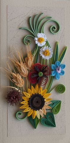 Neli Quilling Art: Quilling card-summer flowers