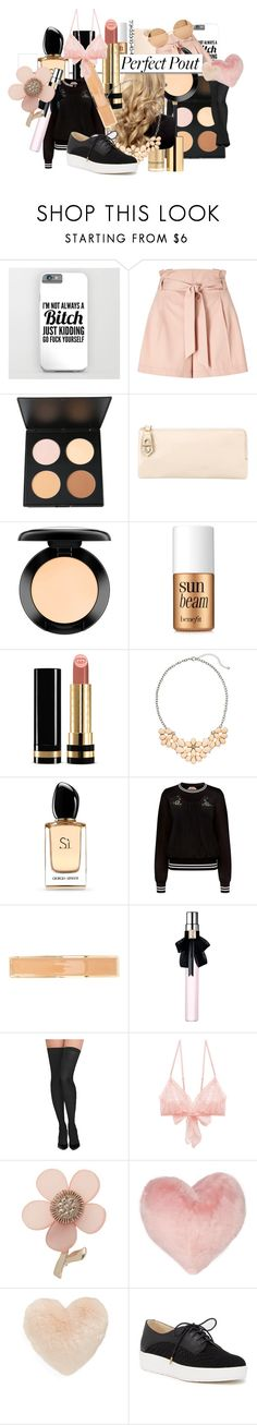 """""""boi itsa peach: Perfect Pout"""" by kokoboppies ❤ liked on Polyvore featuring beauty, Miss Selfridge, Reed Krakoff, MAC Cosmetics, Benefit, White Label, Gucci, Giorgio Armani, N°21 and France Luxe"""