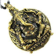 Hindu Brass Meditating Om Ganesh Pendant Amulet Necklace Buddhist Hindu Jewelry Ganesha charm Pendant Om Symbol Pendant Ohm Amulet Charm by ElephantAmulets on Etsy