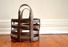 DIY leather basket tutorial http://keightlystudio.com