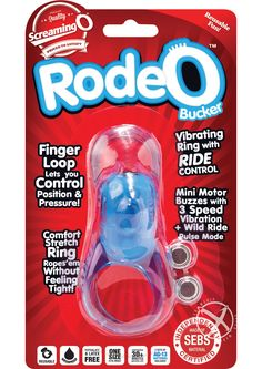 RODEO BUCKER BLUE - The Rodeo Bucker puts you in full control with a multi-function mini motor and top finger loop for perfect positioning. The bottom ring hogties his shaft and testicles without fitting tight and stretches comfortably with every movement. Whether a little to the left or a lot to the right, this powerful vibrating ring stimulates anywhere you want it and makes it easy for couples to enjoy a customized roll in the hay!